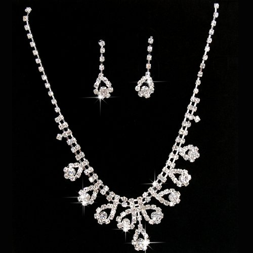 SWT New Diamante Jewellery Bridal Wedding Crystal Necklace Earrings Beautiful Set