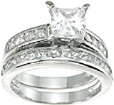 Princess Cut Wedding and Engagement Ring Set in Sterling Silver