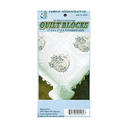 Fairway Needlecraft 90105 Quilt Blocks, Kittens In Basket Design, White, 6 Blocks Per Set