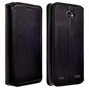 ZTE Sonata 2 (2nd Gen. -2015) Cricket /ZTE Zephyr Z752C / Paragon Z753G Phone Case Faux Leather Folio Flip Book Wallet Pouch Cover +Fold Up Kickstand By Zase Professional Design (Premium Faux Leather Black)