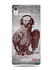"""buy Grüv Premium Case - """"Funky Music Headphones Owl"""" Design - Best Quality Designer Print On White Hard Cover - For Xperia Z2"""