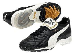 PUMA Men\'s King Allround TT Soccer Cleat,Black/White/Gold,7.5 D US