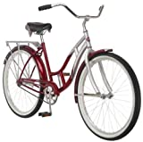 "NEW Women's Silver & Red Schwhinn 26"" Wheel Size Sanctuary Cruiser Bicycle"