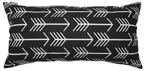 JinStyles® Cotton Canvas Arrow Accent Decorative Throw Lumbar Pillow Cover / Cushion Sham (Black, White, Rectangular, 1 Cover for 12 x 24 Inserts)