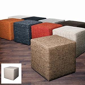 Möbelbär 8009-06 Sitz-würfel / -hocker 45 x 45 x 45 cm, bezogen mit robustem Magma Webstoff, creme / beige
