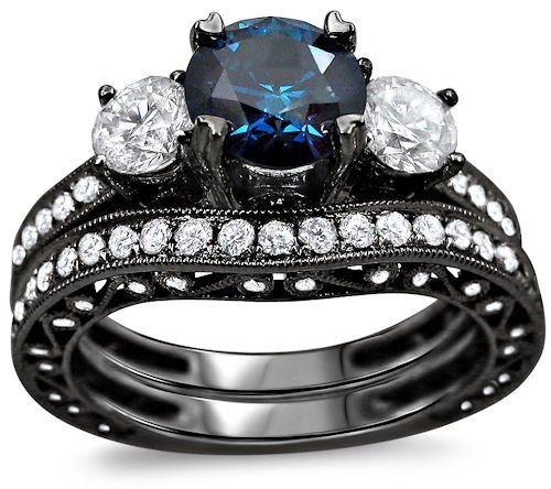 2.90Ct Blue Round Diamond Engagement Ring Wedding Set 18K Black Rhodium Gold Plating Over White Gold