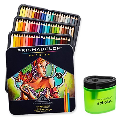 Prismacolor Premier Soft Core Colored Pencil, Set Of 72 Assorted Colors (3599TN) + Prismacolor Scholar Colored Pencil Sharpener (1774266)