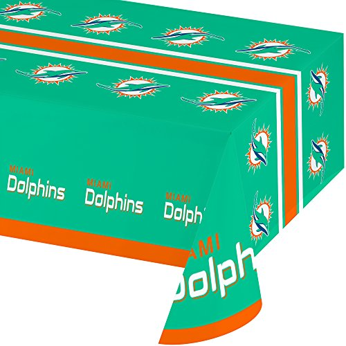 Creative Converting All Over Print Miami Dolphins Plastic Banquet Table Cover