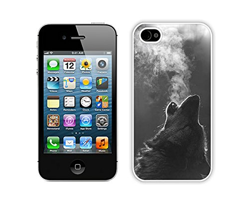 Zhuxiuhu Winter Wolf Howling iPhone 4 4S Case White Cover Good Review cell phone cases