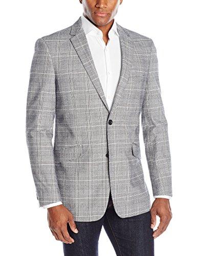 U.S. Polo Assn. Men's Cotton Glen Plaid Sport Coat, Black/White, 40 Long