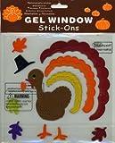 Thanksgiving Turkey Fall Leaves Gel Window Clings
