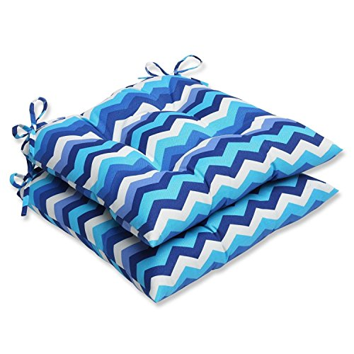 """Set of 2 Rayas Azules Blue, Navy and White Chevron Striped Patio Wrought Iron Chair Cushions 19"""""""