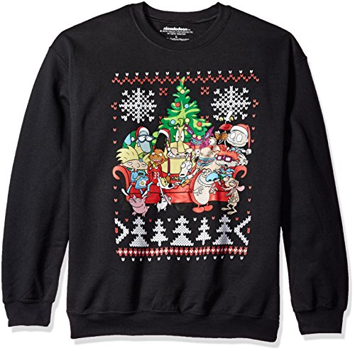 nickelodeon-mens-retro-group-shot-ugly-christmas-sweatshirt-black-medium