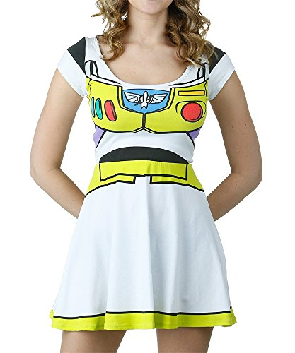 [I Am Buzz Lightyear Toy Story Disney Movie Mighty Fine Jrs Costume Skater Dress] (Buzz Lightyear Costumes Women)