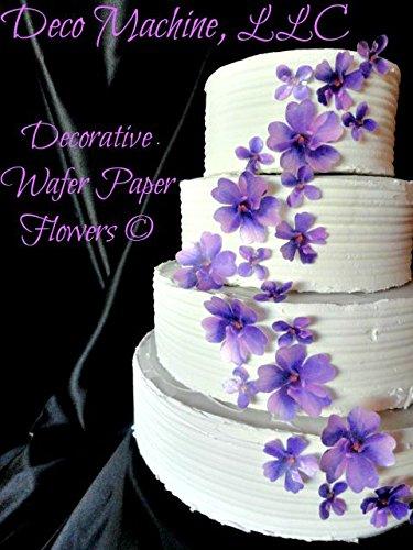 24 PURPLE Lavender Decorative Wafer Paper Flowers © 3 Sizes 1