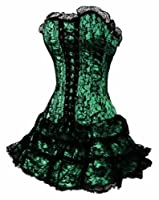 Dissa Gothic Lace Trim Corset With G-String,Green