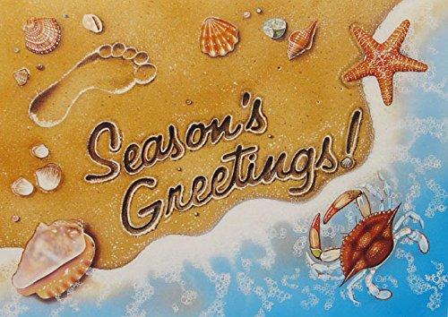18 Christmas Cards and Envelopes, Seasons Greeting Surf