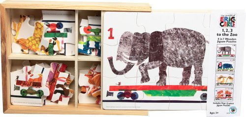 Cheap University Games BePuzzled Eric Carle Wooden Puzzles – 1,2,3 to the Zoo 4 in 1 Wooden Jigsaw Puzzle Box (B0026M9WCW)