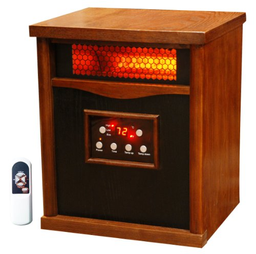 Lifesmart 6 Element Large Room Infrared Quartz Heater w/Wood Cabinet and Remote (Life Infrared Heater compare prices)