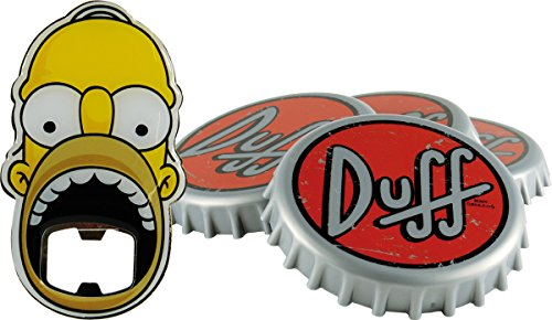 "Unitedlabels  0116565 Simpsons - Sottobicchiere con apribottiglie, 5 pezzi ""Duff Beer"""