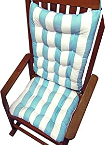 Rocking Chair Cushions Coastal Aqua White