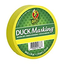 Duck Masking 240819 Yellow Color Masking Tape, .94-Inch by 30 Yards