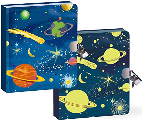 Peaceable Kingdom / Deep Space Glow In The Dark Lock & Key Diary front-595664