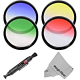 Essential 72MM Lens Filter Kit for CANON (EF 35mm f/1.4L, EF 85mm f/1.2L II, EF 135mm f/2L), NIKON (85mm f/1.4, 18-200mm f/3.5-5.6G) Lenses - Includes: Graduated Color Filter Kit (Red, Green, Yellow and Blue) + Lens Cleaning Pen + Premium MagicFiber Micro