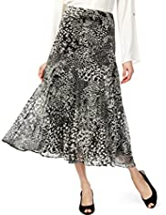 Abstract Print Flared Hem Maxi Skirt