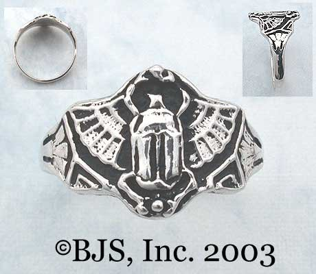 Medium Flying Scarab Ring - Sterling Silver Egyptian Jewelry