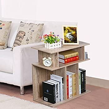 World Pride Wood End Table Side Sofa Console, Storage Stand, Accent End Table in Reclaimed Vintage Look, Oak