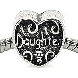 """""""Daughter """" Heart Charm Bead For Snake Chain Charm Bracelet"""