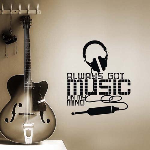 """Colorfulhall 47.24"""" X 23.62"""" Music Style Headset Murals Lettering Wall Art Wall Art Decal Sticker For Bedroom front-801910"""