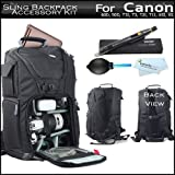 Vivitar Professional Photo DSLR Laptop Accessories Sling Backpack Case For Canon EOS Rebel 60D - T5i - T5 - T4i - T3I - T3 - T2I - T1I - XSI - XS - Digital SLR Camera + Lens Pen Cleaning Kit + Air Dust Blower + More