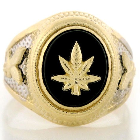 10K Two-Tone Gold Onyx Mens Ring w/ Marijuana & Eagle