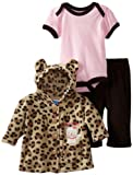 Bon Bebe Baby-girls Newborn Kitty 3 Piece Hooded Fleece Jacket Set