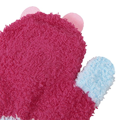 Evelin LEE Baby Cute Cartoon Hanging Neck String Mitten Gloves Winter Fleece (Rabbit)
