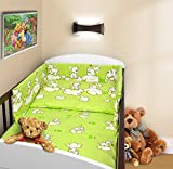COT BUMPER 100 COTTON PADDED FOR BABY FIT COT 120x60 140x70 STRAIGHT 190cm to fit cot 140x70cm Puppy Green