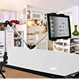 ECVISION® Desktop seat Bed bolt clamp mount bracket Ipad holder IPad stand Ipad monut for Ipad & All Tablet and Wide-Sreen Mobile Phones use in car,office,home -with Product Replacement Warranty from ECVISION (Three-section)