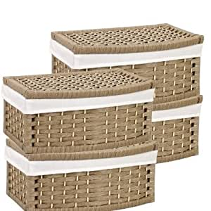 Wicker Storage Baskets With Lid And Liner Set Of 4 Home Kitchen