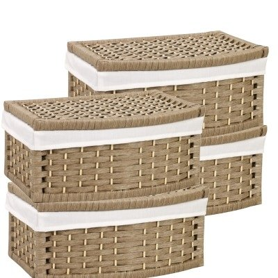 wicker storage baskets with lid and liner set of 4. Black Bedroom Furniture Sets. Home Design Ideas