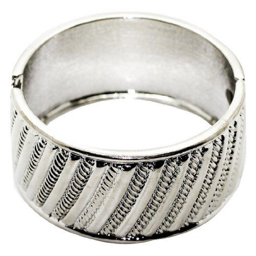 Womens Stylish Metal Silver Tone Cuff Bangle / Bracelet - Silver