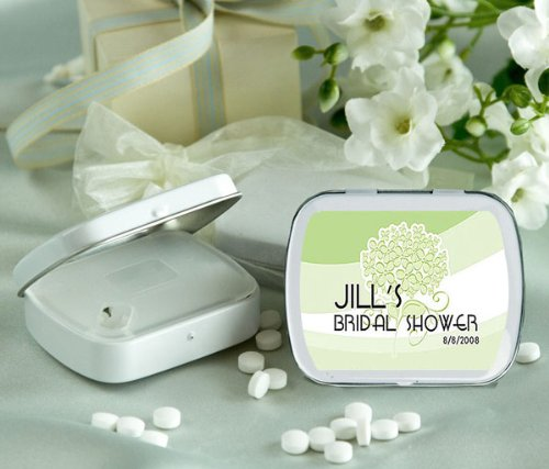 Wedding Favors Green Bouquet Design Personalized Glossy White Hinged Mint Box (Set of 24)