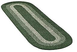Extra Long Skid-Resistant Braided Floor Runner, Green, 20 X 72