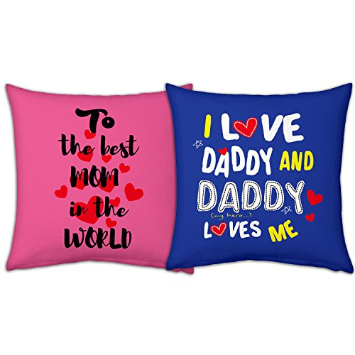 Gift For Father Mother Dad Mom Birthday Anniversary Best In The World I Love Daddy Pink Blue Printed 12X12 Small Cushion With Filler Set Of 2