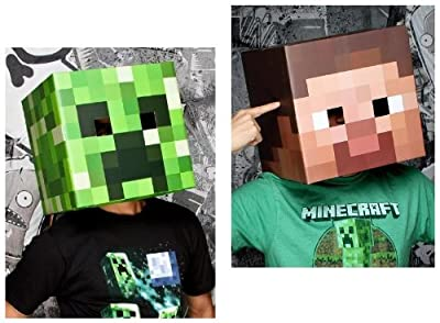 Official Minecraft 12 Steve Creeper Exclusive Head Costume Mask Set Of 2 by MOJANG