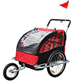 Aosom 2IN1 Double Baby Bike Trailer Jogger Stroller Red