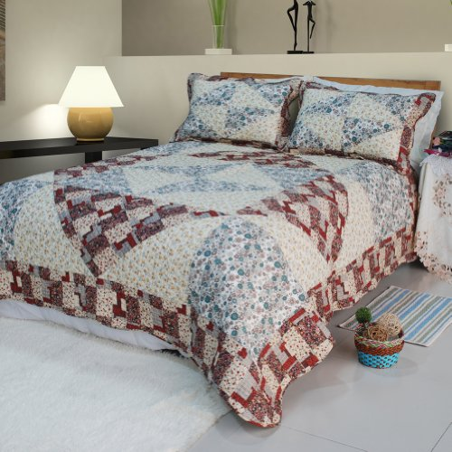 [Floral Journey] Cotton 3PC Floral Vermicelli-Quilted Patchwork Quilt Set (King Size)