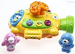 Happytime My First Moon and Stars Projector Submarine Toy with Music and Interesting Functions, Adjustable Volume (White .Yellow Color)random