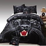 Cozy Beddings Panther 100-Percent Cotton 5-Piece Duvet Cover Set, Reversible with Duvet Insert, Full, Black